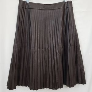 Ann Taylor Pleated Brown Faux Leather skirt